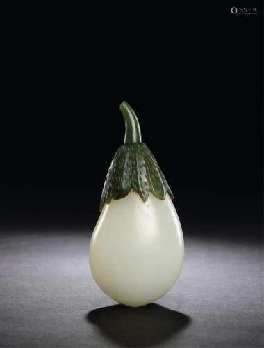 清中期 白玉茄子形鼻烟壶