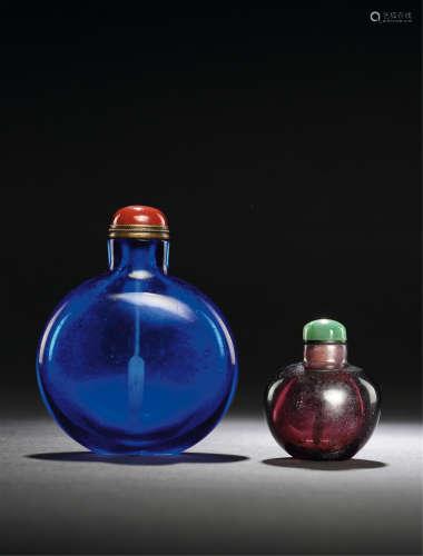 清 宝石蓝料光素鼻烟壶、葡萄紫料光素鼻烟壶 (两件)