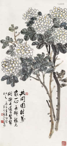 陈半丁(1876~1970) 1960年作 共同团结•万众一心 立轴 纸本设色