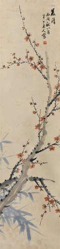 陈半丁(1876~1970) 1946年作 双清图 镜芯 纸本设色