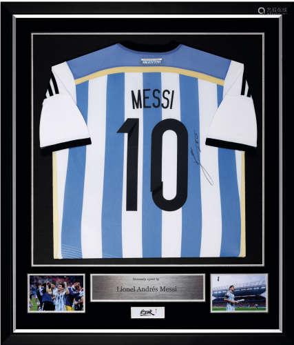 梅西亲笔签名 2014年世界杯阿根廷队主场球衣
