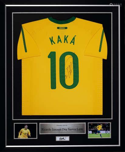卡卡亲笔签名 2010年世界杯巴西队球员版主场球衣