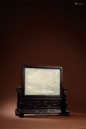 清中期 白玉雕高士图插屏