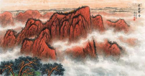 杨石朗(1915~2000) 1987年作 黄岳群峰 镜芯 纸本设色