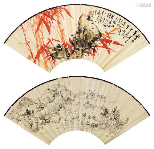 陈半丁(1876~1970) 1960年作 竹石图·秋江幽居 扇面 纸本设色