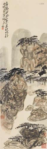 陈子庄(1913~1976) 1971年作 云山图 立轴 纸本设色