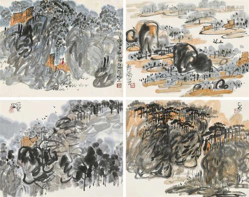 陈子庄(1913~1976) 1975年作 山居图四帧 镜芯 纸本设色