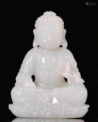 A HETIAN JADE BUDDHA FIGURE