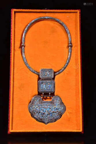 A SILVER CHINESE ANTIQUE STYLE LOCK