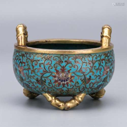 CHINESE CLOISONNE BAMBOO HANDLE FEET CENSER