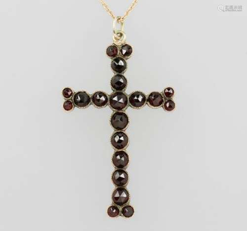 Crosspendant with garnets, german approx. 1870s