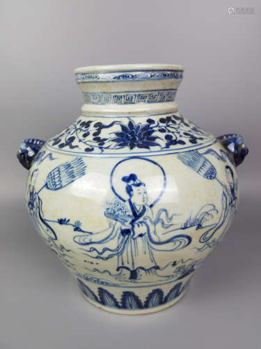 A BLUE AND WHITE FIGUER STORY WITH BEAST EAR JAR