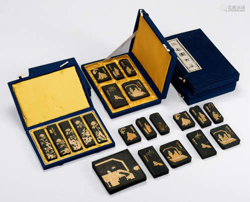 青色盒装墨 (五盒)