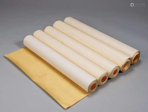 瓦当真丝绢笺纸 (一盒五卷)