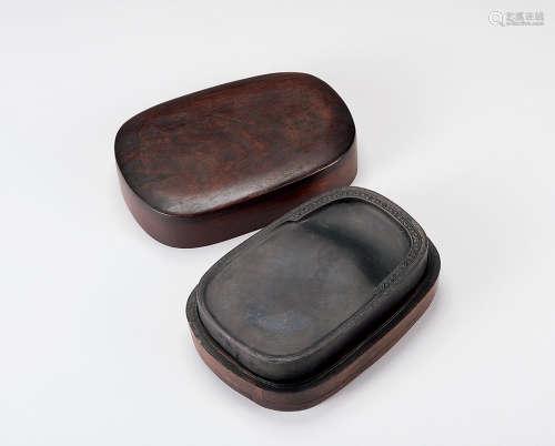 清 红木盒砚