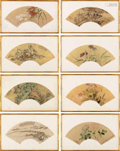 罗三峰(清)等 山水花鸟 (八帧) 镜框 设色金笺纸本