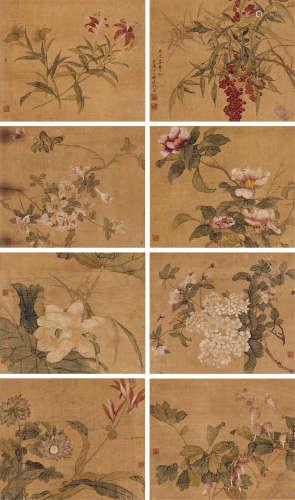 恽冰(清) 花卉 (八帧) 册页 设色绢本
