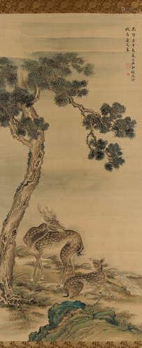 沈铨(清) 1750年作 松下双鹿 立轴 设色绢本