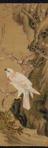 沈铨(清) 1750年作 鹰 立轴 设色绢本