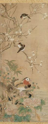 方婉仪(清) 花鸟 立轴 设色纸本