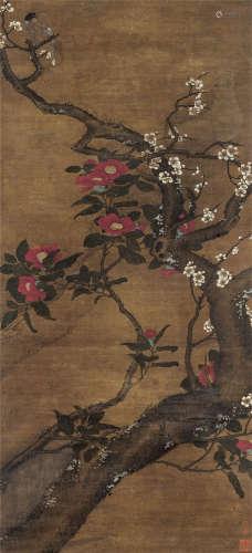 佚名(明) 茶梅图 立轴 设色绢本