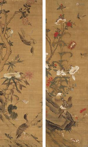 佚名 花鸟 立轴 双屏 设色绢本