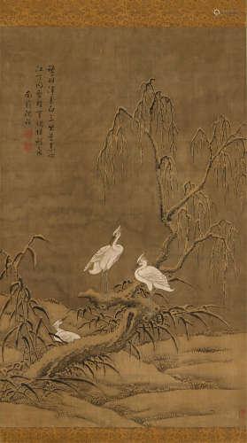 沈铨(清) 花鸟 立轴 设色绢本