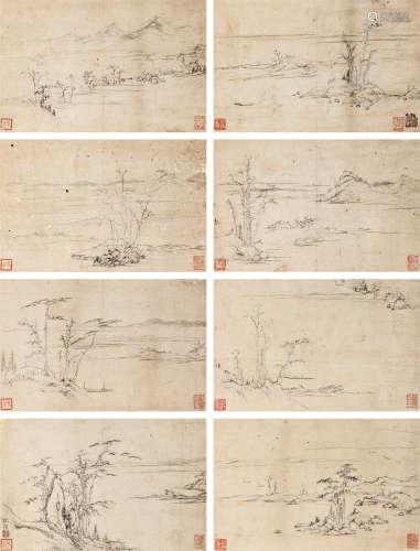 倪瓒(款) 山水 (八帧) 册页 水墨纸本