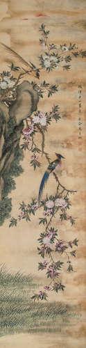 马家桐(清) 桃花双鸟 立轴 设色绢本