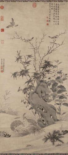 王渊(传) 1347年作 秋景鹑雀图 立轴 水墨纸本