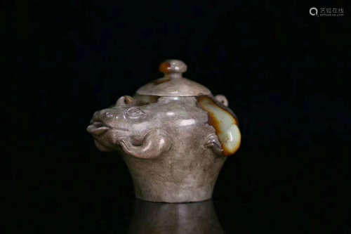 3TH CENTURY, A TOAD DESIGN OLD JADE BOTTLE, HAN DYNASTY