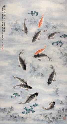 吴青霞 晴川戏水 立轴 设色纸本