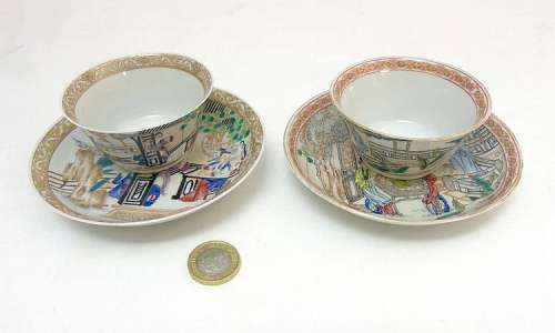 Two Chinese Famille Rose tea bowl and saucers, one set depicting two orient