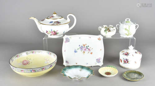 A 19th Century Staffordshire floral painted teapot, together with a Coalport sugar bowl and cover