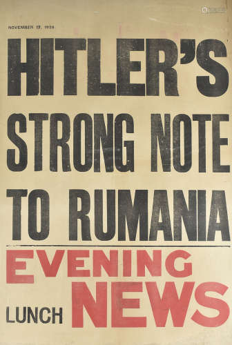 Four WWII period Newspaper posters for the Evening News and Evening Standard, comprising 'French
