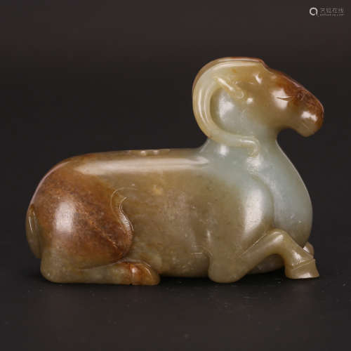 CHINESE JADE CARVED RAM