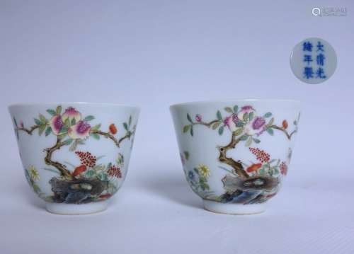 A PAIR OF FAMILLE ROSE CUPS, GUANGXU MARK