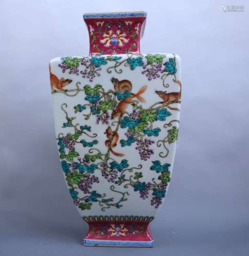 A FAMILLE ROSE SQUARE VASE, QIANLONG MARK