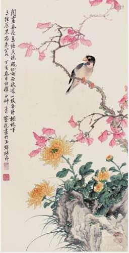 蔡铣 花鸟 设色纸本 立轴