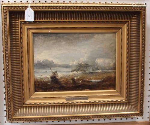 Circle of Richard Parkes Bonington - 'Off the Cornish Coast', 19th century oil on panel, titled to