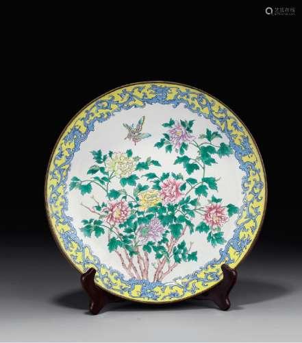 清 铜胎画珐琅花卉盘