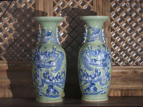 豆青釉雕瓷青花人物瓶