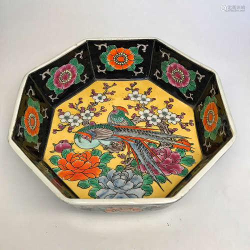 A PEONY PATTERN YELLOW GLAZED OCTAGON BOWL