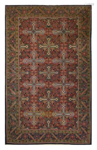 A FINE VERY UNUSUAL KASHAN RUG, CENTRAL PERSIA approx: 7ft.4in. x 4ft.7in.(224cm. x 140cm.) Nicely drawn although very unusual design, more associated with Caucasus. Good colour combination. Ends and selvages original. Tis rug has good pile and is in very good usable condition throughout. Attractive