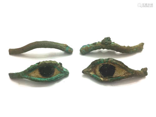 ANCIENT BRONZE AND LIMESTONE EYES AND EYEBROWS