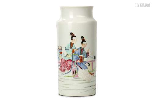 A CHINESE FAMILLE ROSE SLEEVE VASE. Qing Dynasty, Yongzheng era. Of cylindrical form rising to a