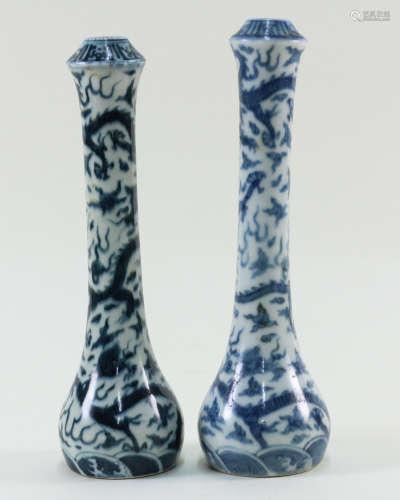 PAIR OF BLUE & WHITE DRAGON DESIGN VASES