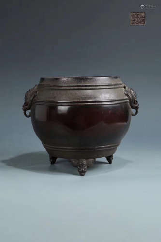 14-16TH CENTURY, A DOUBLE-EAR DRUM DESIGN BRONZE FURNACE, MING DYNASTY