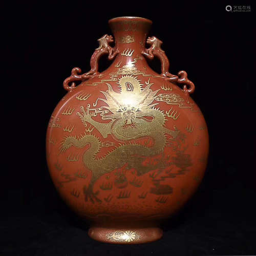 A RED GILDED DRAGON PATTERN FLAT VASE