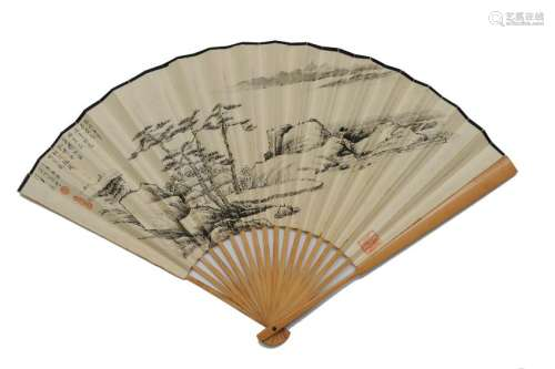 Chinese Fan with Landscape Painting